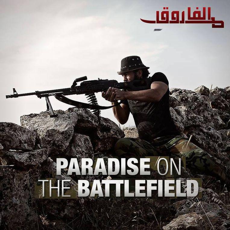 Propagandaposter voor de jihad in Syrië. Beeld Archieffoto AD