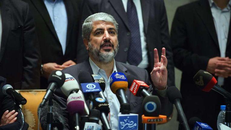 Hamas-leider Khaled Meshaal geeft een persconferentie naar aanleiding van het bereikte bestand. Beeld afp