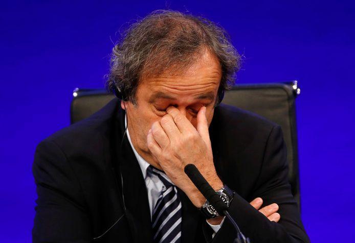 Michel Platini tijdens een congres in Londen. De Fransman werd dinsdag aangehouden.