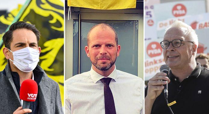 Tom Van Grieken (Vlaams Belang), Theo Francken (N-VA) en Peter Mertens (PVDA).