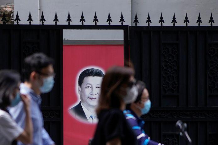 Le portrait du président chinois Xi Jinping dans une rue de Shanghai, le 22 mai 2020.
