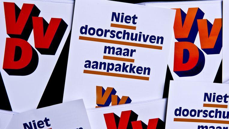 Een verkiezingsuitspraak van de VVD op een poster. Beeld ANP