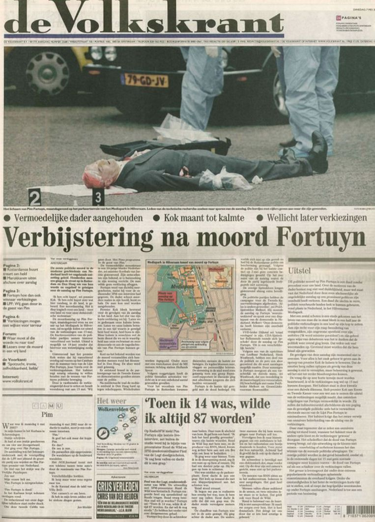 De voorpagina van de Volkskrant, een dag na de moord op Pim Fortuyn. Beeld