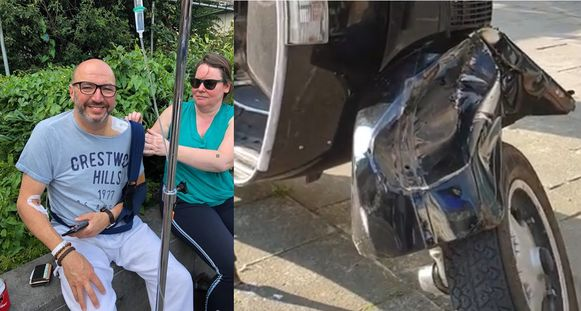 Schepen Janick Doré (N-VA) wordt na de operatie geholpen door een vriendin Brigitte / De Vespa raakte zwaar beschadigd bij het ongeval.