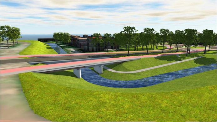 Een artist impression van de toekomstige situatie: een zichtbare rivier de Wever, met de brug.