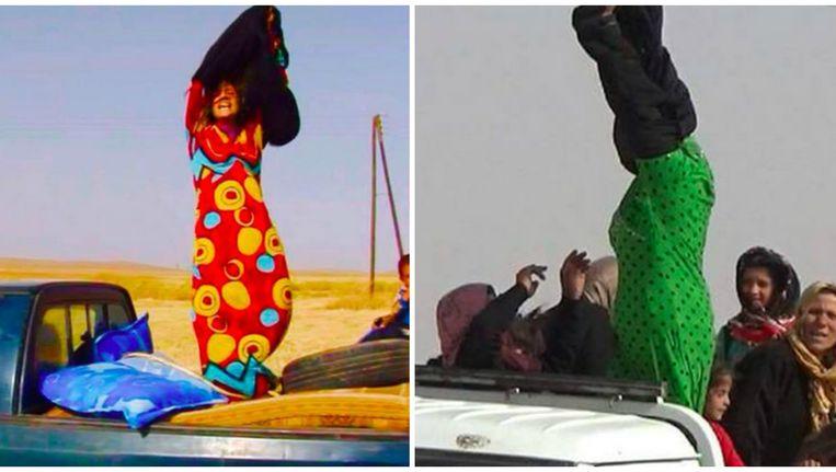 Vrouwen halen hun kleurige jurken van onder hun abaya wanneer ze de grens naar Koerdisch gebied oversteken.