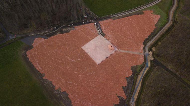 Dronebeeld van het beeldjesproject.