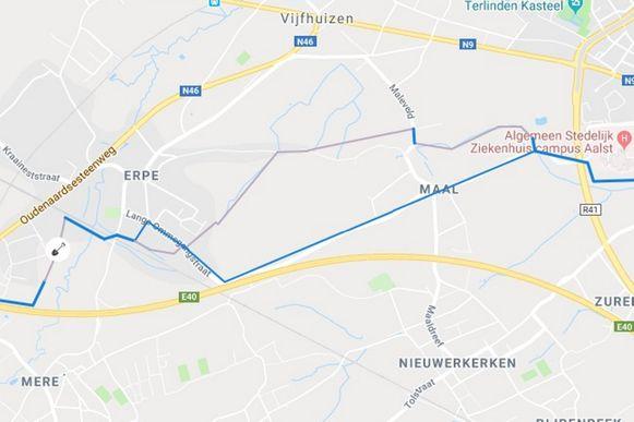 In een tweede fase wordt gewerkt tussen de treinhalte Erpe-Mere en het crematorium in Aalst.