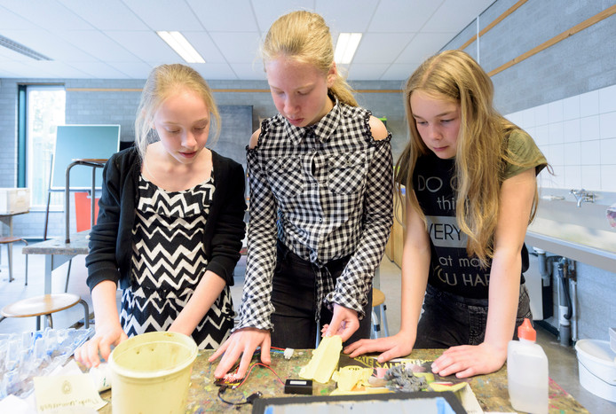 Dian van der Doelen (11), Merle Claassen (12) en Nienke Gilsing (12) van De Vest uit Hoogeloon met de micro:bit.