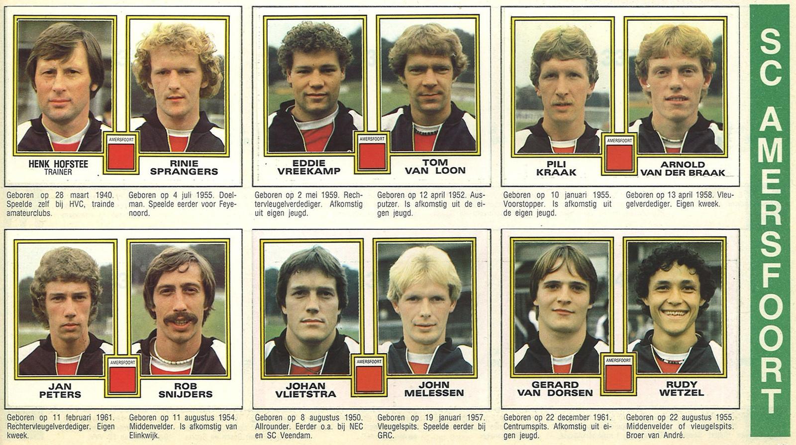 Voor de verzamelaar: plaatjes van trainer en spelers van de Amersfoortse profclub van destijds SC Amersfoort.