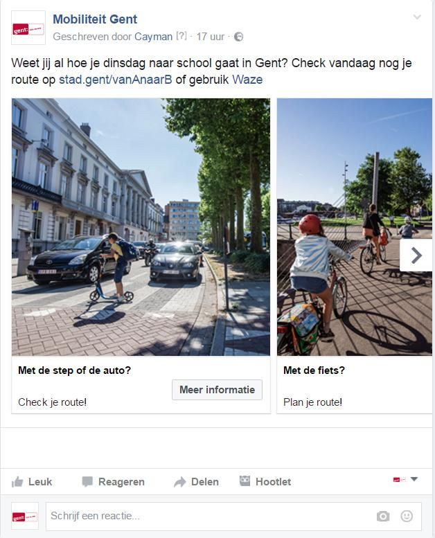 De campagne van de stad op Facebook.