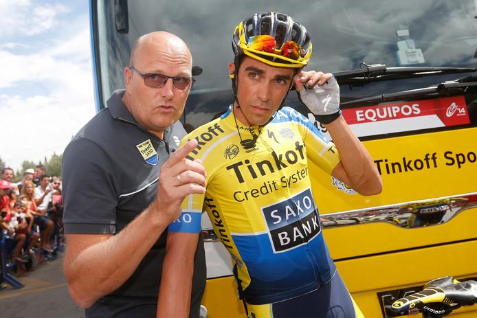 Riis met zijn vroegere pupil Alberto Contador.