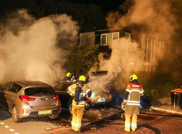 De hulpdiensten konden niet voorkomen dat de auto verloren zou gaan.