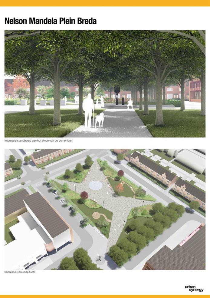 Ontwerp Nelson Mandelaplein in Tuinzigt. Het plein gaat in het najaar van 2019 op de schop. Bron: Urban Synergy