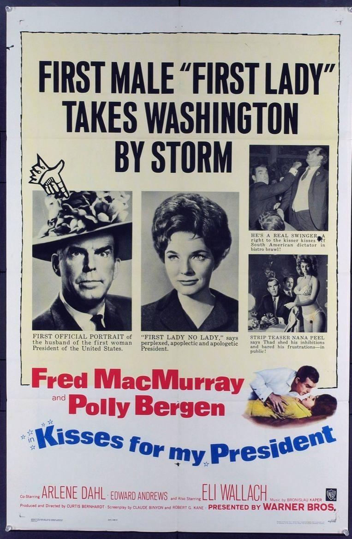Filmposter van Kisses for my president waarin Polly Bergen te zien is als de Amerikaanse president Leslie McCloud. Beeld Warner Bros