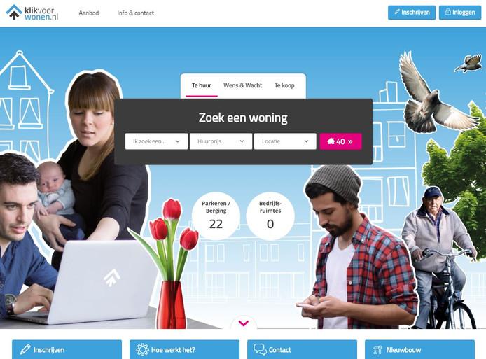 De website van Klik voor Wonen.