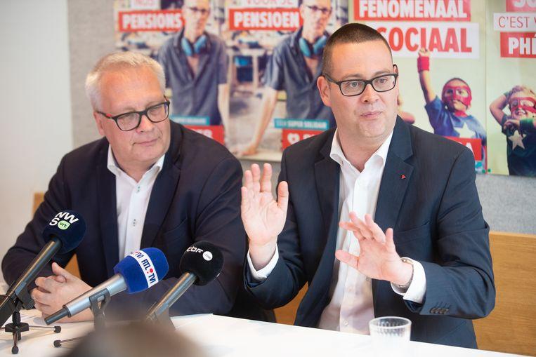 PVDA-voorzitter Peter Mertens en partijwoordvoerder en kopstuk Raoul Hedebouw.