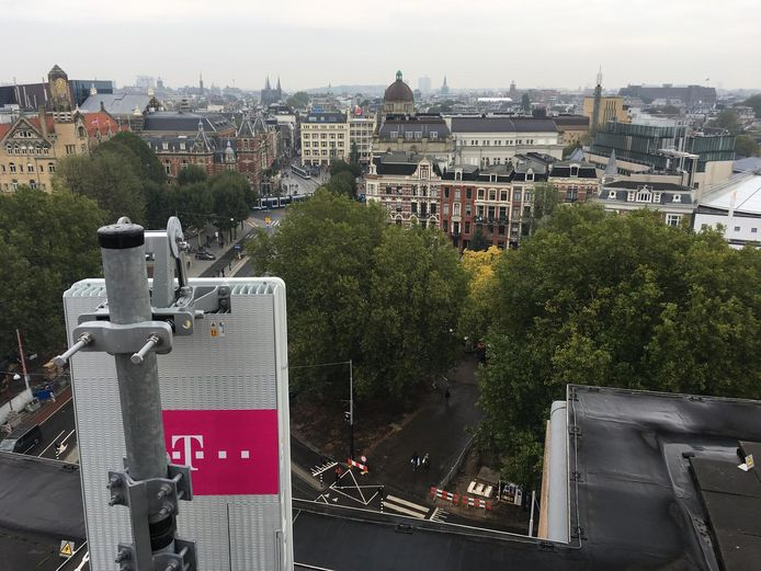 T Mobile plaatste vorig jaar al een 5G-proefmast op het Leidseplein.
