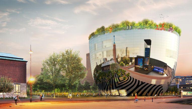 Impressie van het Collectiegebouw met `dakbos'(rechts) van museum Boijmans. Beeld MVRDV
