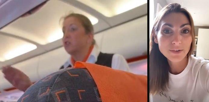 Links: de stewardess. Rechts: Luisa Zissman.