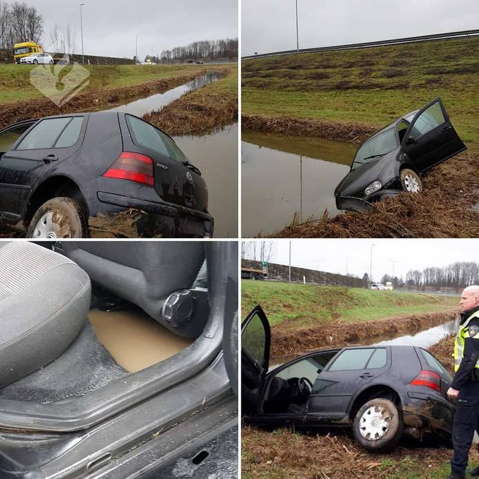 De wijkagent schoot te hulp nadat een auto op de A2 in de sloot reed.