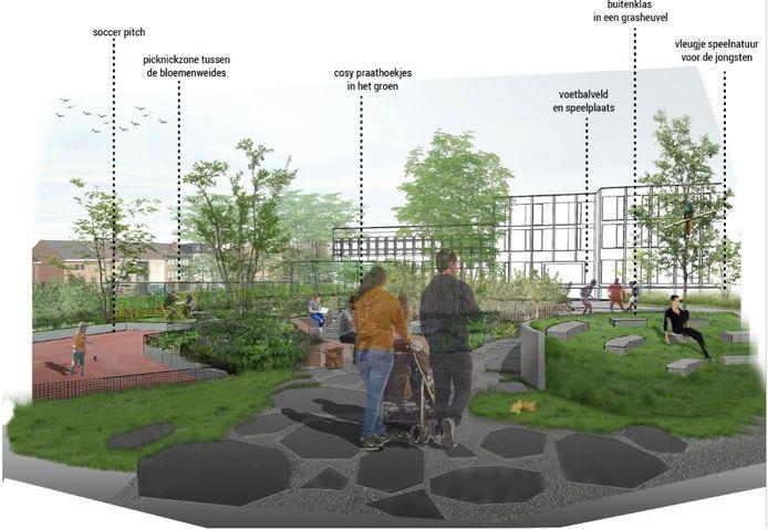 Een simulatiebeeldje van de nieuwe speelplaats van Sint-Amandsbasisschool Zuid