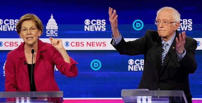 Senatoren Elizabeth Warren en Bernie Sanders.