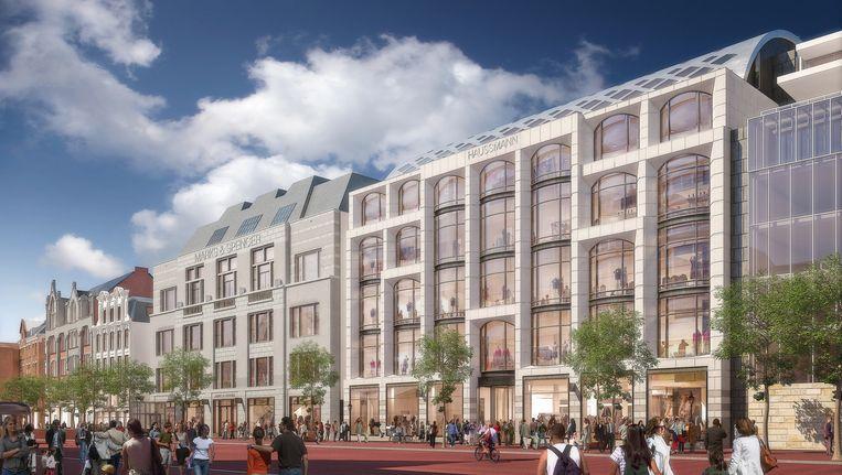 Impressie van het nieuwe warenhuis Haussmann aan het Amsterdamse Rokin. Beeld