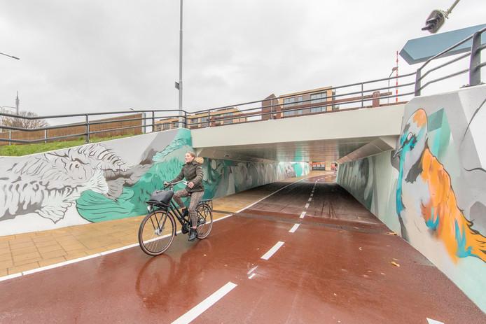 Het fietstunneltje bij de ringbrug in Goes is nu echt open.
