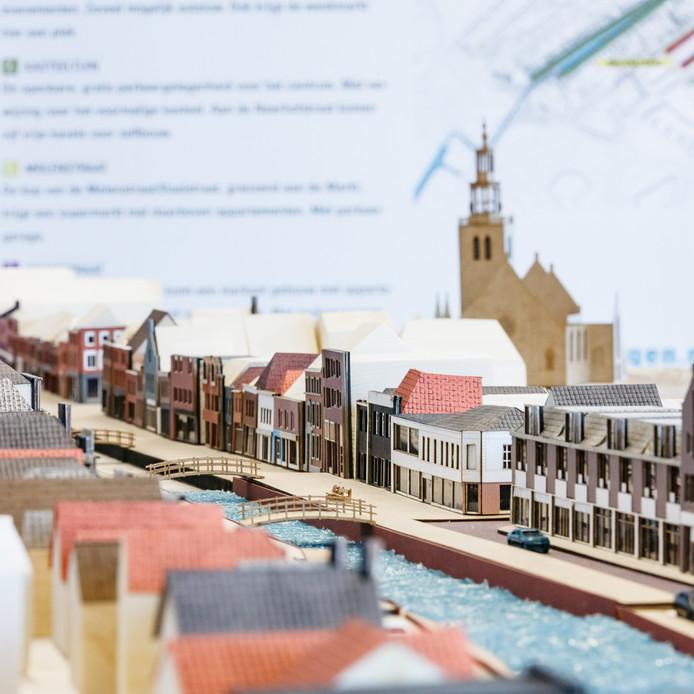 Een deel van de maquette van het vernieuwde haventracé in Zevenbergen.