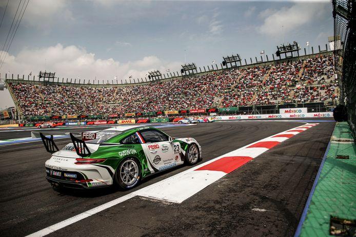 Jaap van Lagen in 2019 tijdens de Porsche Supercup-race in Mexico Stad.