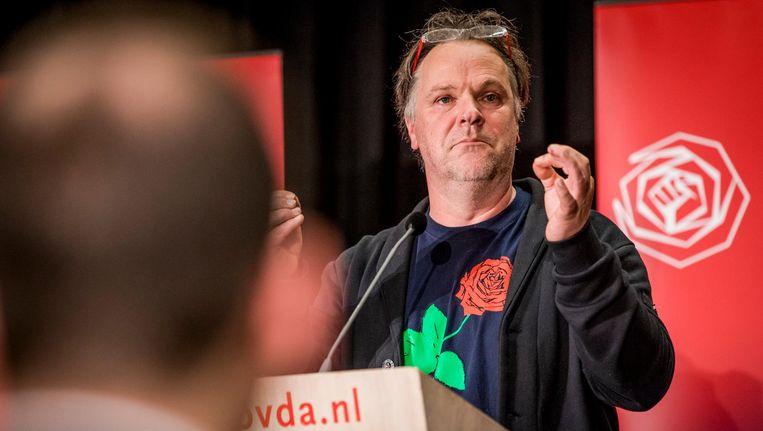Hans Spekman tijdens de PVDA ledenraad in Utrecht. Beeld Freek van den Bergh