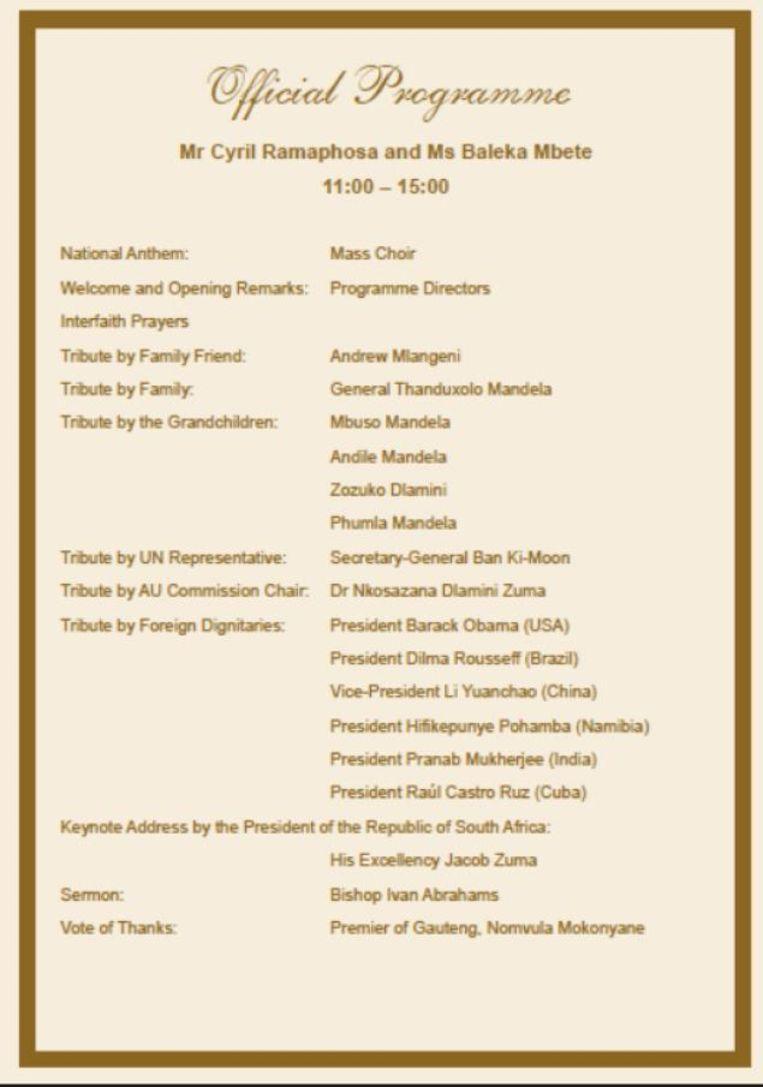 Het officiële programma van de herdenkingsbijeenkomst vandaag. Beeld -