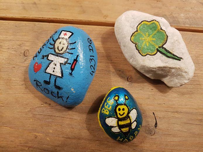 Overal in Vijfheerenlanden duiken felgekleurde stenen op: zogenoemde happy stones.