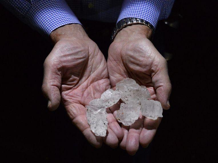 Korrels zout uit de zoutmijn in Hutchinson, Kansas, VS. Beeld anp