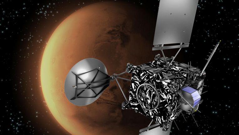 Moederschip Rosetta met Mars op de achtergrond Beeld afp