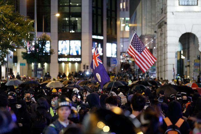 In de demonstratie waren ook Engelse en Britse vlaggen te zien.