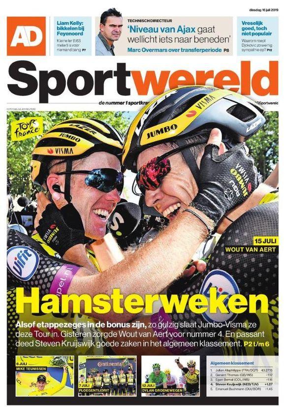 Van Aert en Kruijswijk vulden de voorpagina van de sportkatern van het Algemeen Dagblad.