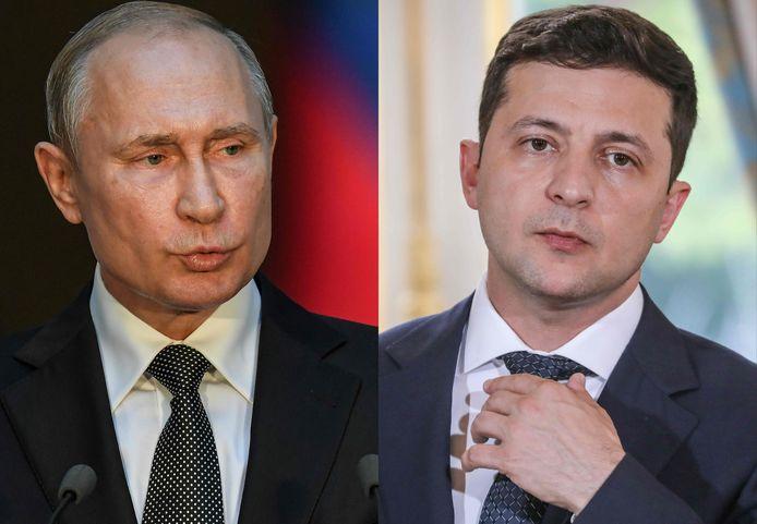 Le président russe Vladimir Poutine et son homologue ukrainien Volodymyr Zelensky