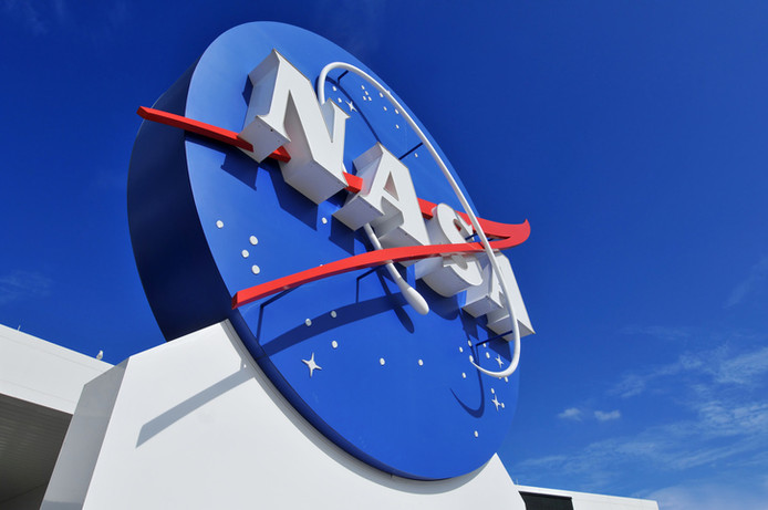 """Cape Canaveral, FL, USA- January 2, 2011: The NASA\'s Logo Signage at the Kennedy Space Center, NASA in Florida, USA."""