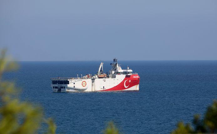 Het Turkse onderzoeksschip Oruc Reis, dat mee aan de basis lag van de spanningen.