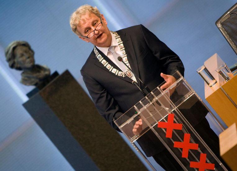 7 juli 2010: Van der Laan houdt zijn eerste toespraak als burgemeester van Amsterdam. Beeld ANP