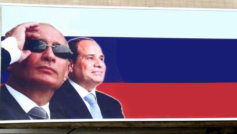 Poster in Egypte van de Russische president met zijn Egyptische ambtgenoot Al-Sisi. Beeld photo_news