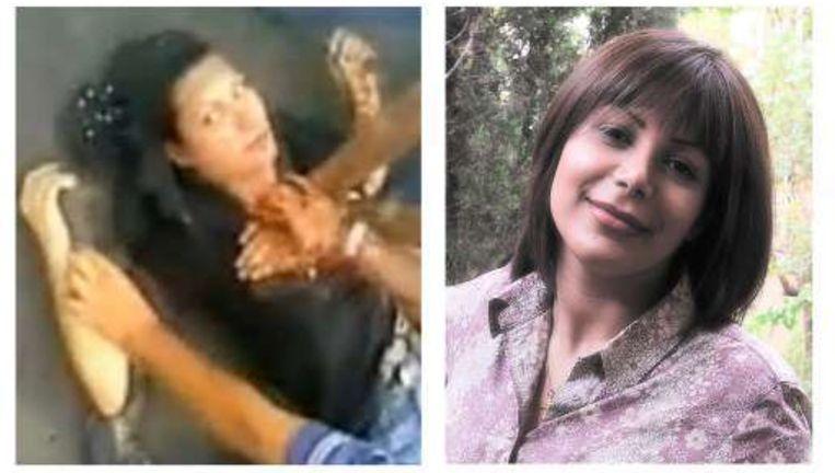 Neda's verloofde is een fotojournalist en hij maakte het portret (r). Links de foto van de gruwelijke dood van de 27-jarige studente.