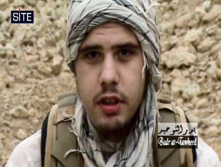 Videobeeld van Eric Breininger, alias Abdul Gaffoor Almani, een Duitse djihadist die eind april werd gedood in Pakistan. (FOTO AFP) Beeld