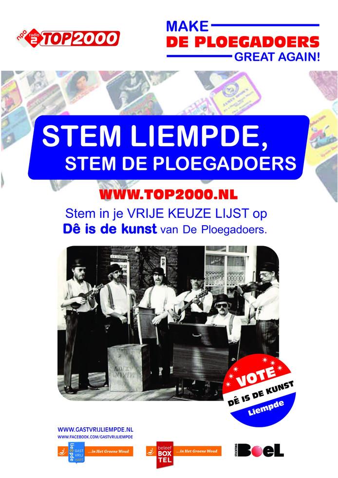De poster die gebruikt wordt om De Ploegadoers in de Top 2000 te krijgen.