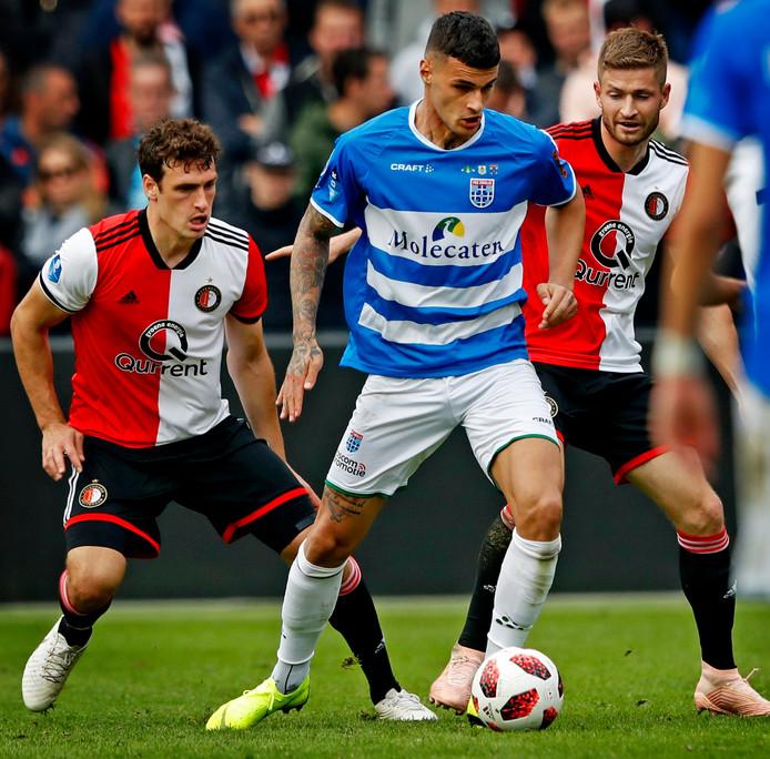 Gianluca Scamacca in het shirt van PEC Zwolle.