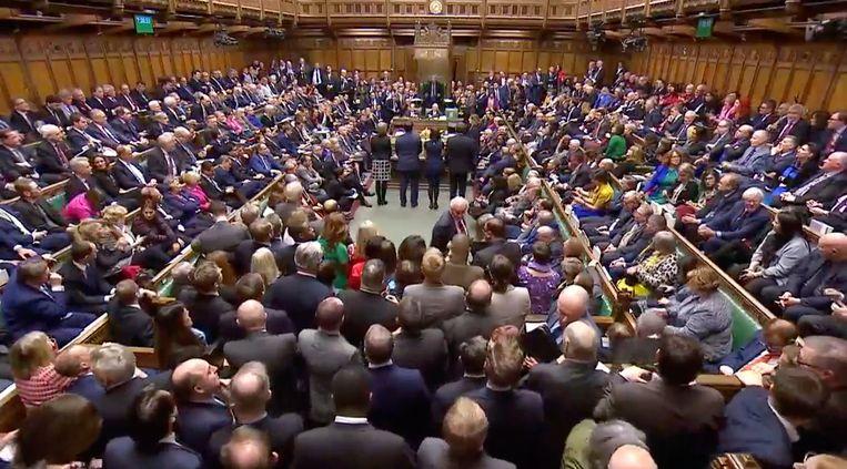 Parlementsleden tijdens de stemming. Beeld