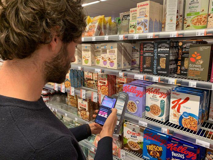 Het gebruik van de app in een supermarkt.