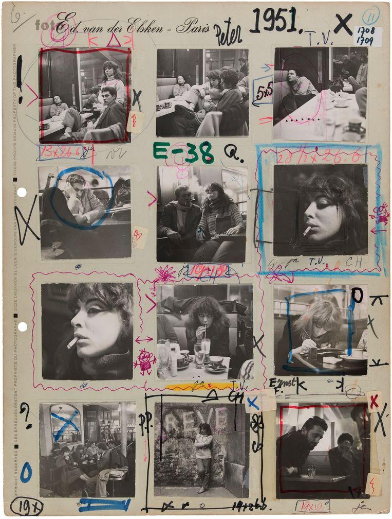 Contactvel met foto's uit Van der Elskens beroemd geworden project Een liefdesgeschiedenis in Saint-Germain-des-Prés, Parijs, 1950-1954. Beeld Ed van der Elsken / Collectie Nederlands Fotomuseum, Rotterdam